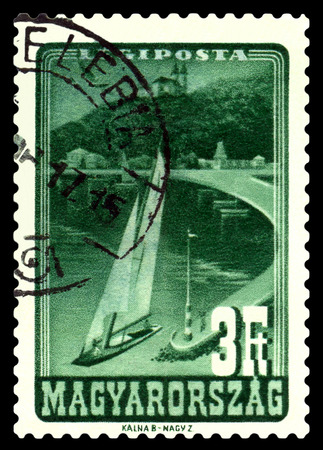 philately: STAVROPOL, RUSSIA - December 02, 2016: A stamp printed in Hungary shows Lake Balaton, circa 1947