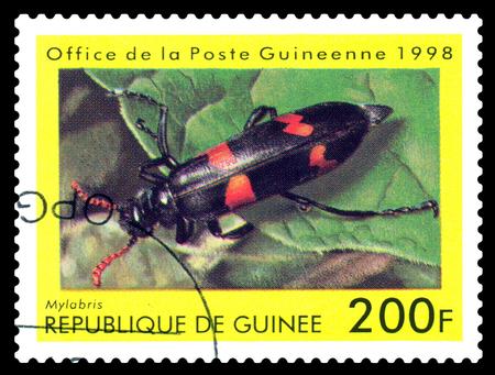 STAVROPOL, RUSSIA - April 30, 2017: a stamp printed in Guinea (Republique de Guinee)  shows  Beetle  Mylabris, series beetle, circa 1998