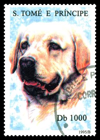 STAVROPOL, RUSSIA - May 07.2017: A stamp printed in Sao Tome and Principe shows Labrador dog, circa 1995 Editorial