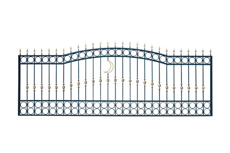 Long section of the fence. Isolated on white background. Stock Photo