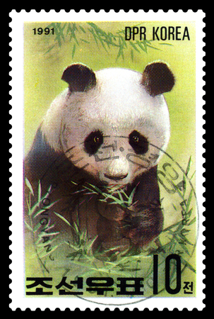 STAVROPOL, RUSSIA - May 14, 2017: A Stamp sheet printed in North Korea shows Giant Pandas, series Pandas, circa 1991 Editorial