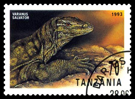 STAVROPOL, RUSSIA - May 21, 2017: a stamp printed by  Tanzania  shows  Striped monitor (Varanus Salvator), series Reptile,  circa 1993 Editorial