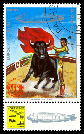 STAVROPOL, RUSSIA - September 12, 2017: a stamp printed by Paraguay shows Corrida, Bull Fighter, International air mail mail Editorial