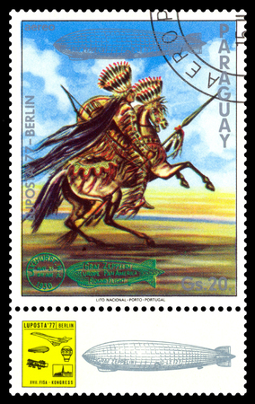 STAVROPOL, RUSSIA - September 12, 2017: a stamp printed by Paraguay shows Indian Horseman, International air mail mail exhibition Editorial