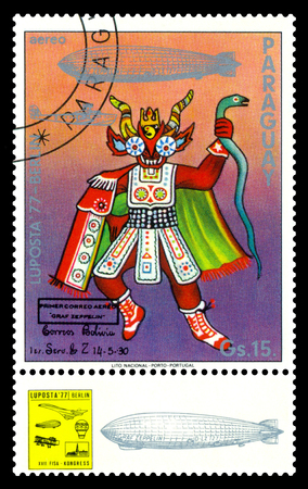 STAVROPOL, RUSSIA - September 12, 2017: a stamp printed by Paraguay shows Ceremonial Indian Costume, Bolivia, International air mail mail