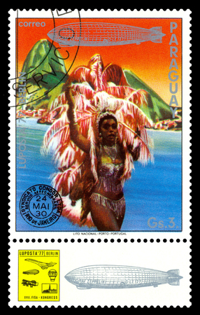 STAVROPOL, RUSSIA - September 12, 2017: a stamp printed by Paraguay shows Dancer, Rio de Janeiro, Brazil, International air mail mail