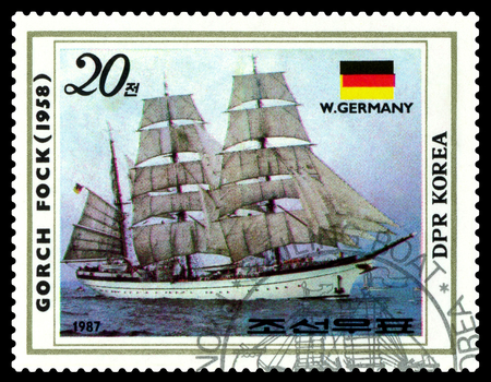 STAVROPOL, RUSSIA - October  03, 2017: a stamp printed by Korea, shows known old sailing Sagres II (1937), series,  circa 1987.
