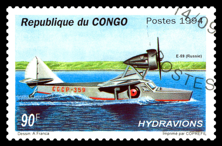 poststempel: STAVROPOL, RUSSIA - October 23, 2017: A stamp printed by Congo shows old seaplane E-59, circa 1994