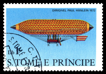 STAVROPOL, RUSSIA - November 11.2017: A stamp printed in Sao Tome and Principe shows an  Dirigible  Paul Hanlein 1872, cirka 1979
