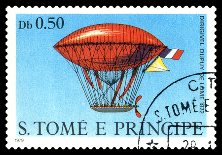 STAVROPOL, RUSSIA - November 11.2017: A stamp printed in Sao Tome and Principe shows an  Dirigible  Dupuy de Lome 1872, cirka 1979