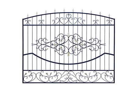 Metal  wrought fencing. Isolated over white background.