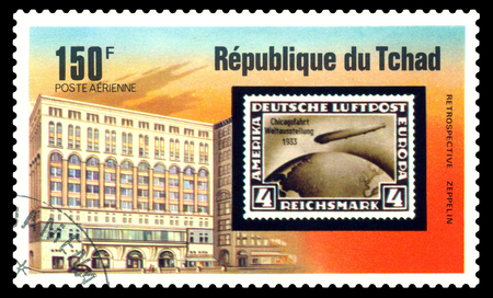 STAVROPOL, RUSSIA - Januar 08, 2018: a stamp printed in Chad shows Zeppelin Flight, 1933, series, cirka 1975 Editorial