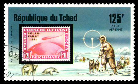 STAVROPOL, RUSSIA - Januar 05, 2018: a stamp printed in Chad shows Zeppelin Flight, North, series, cirka 1975