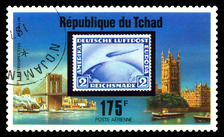 STAVROPOL, RUSSIA - Januar 02, 2018: a stamp printed in Chad shows Zeppelin Flight, series, cirka 1975 Editorial