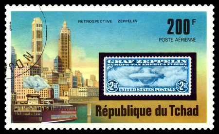STAVROPOL, RUSSIA - Januar 12, 2018: a stamp printed in  Tchad  shows  Zeppelin Flight, series, circa 1975   Editorial