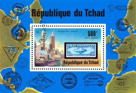 STAVROPOL, RUSSIA - Januar 08, 2018: a stamp printed in  Chad shows  Zeppelin Flight,  series, cirka 1975 Editöryel