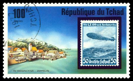 STAVROPOL, RUSSIA - Januar 02, 2018: a stamp printed in Chad shows Zeppelin Flight, LZ 129, series, cirka 1975