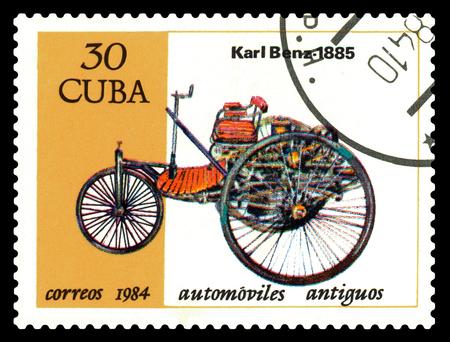 STAVROPOL, RUSSIA - Januar 27, 2018: a stamped by a car. Karl Benz 1885, circa 1984 Editorial