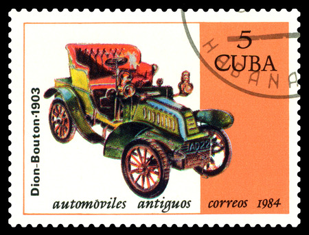STAVROPOL, RUSSIA - Januar 25, 2018: a stamp printed by Cuba shows old car Dion-Bouton 1903, circa 1984