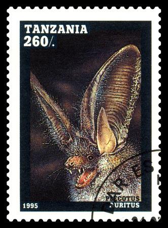 STAVROPOL, RUSSIA - February 12, 2018: A stamp printed by Tanzania shows Plecotus auritus (Pleootus anritns), circa 1995