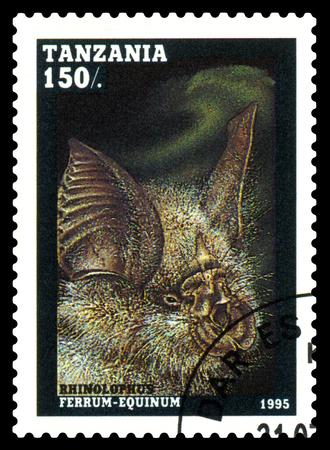 STAVROPOL, RUSSIA - February 19, 2018: A stamp printed by Tanzania shows Rhinolophus ferrumequinum, circa 1995 Editorial