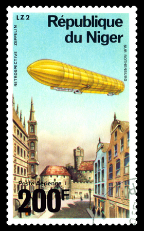 STAVROPOL, RUSSIA - March 03, 2018: a stamp printed by Niger shows LZ-2 over Rothenburg, series, cirka 1976