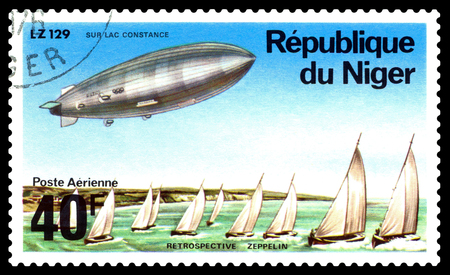 STAVROPOL, RUSSIA - March 04, 2018: a stamp printed by Niger shows LZ-129 over Constance, series, cirka 1976