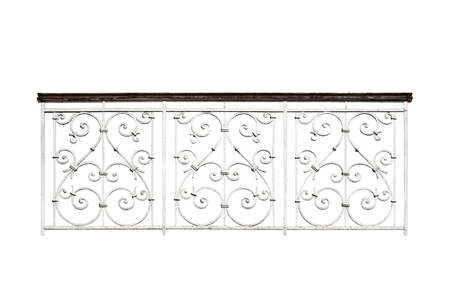 Ancient forged railing, balcony fencing. Isolated on white background.