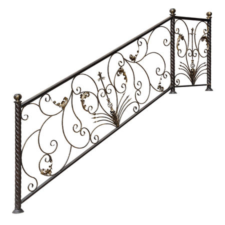 Modern decorative metal railing. Isolated over white background. Stock Photo