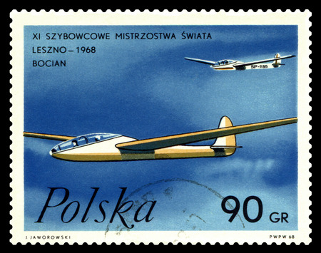 STAVROPOL, RUSSIA - March 27, 2018: a stamp printed by Poland  shows image Gliders Storks, series Leszno - 1968, circa 1968