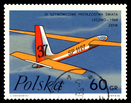 STAVROPOL, RUSSIA - March 31, 2018: a stamp printed by Poland  shows image Zephyr Glider, series Leszno - 1968, circa 1968 Editorial