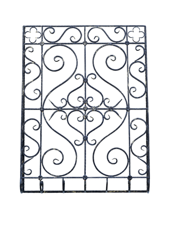 An old wrought-iron lattice. Isolated over white background.