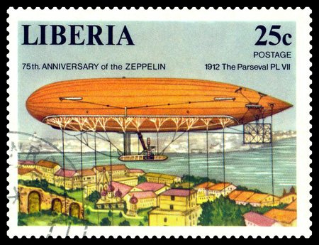 STAVROPOL, RUSSIA - JUNE 16, 2018: a stamp printed in Liberia, shows an  Dirigible Parsefal PL 7, 75th. anniversary of the Zeppelin, cirka 1978
