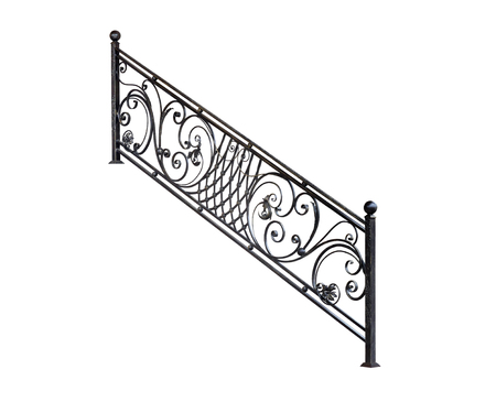 Modern iron railing staircase steps. Isolated over white background.