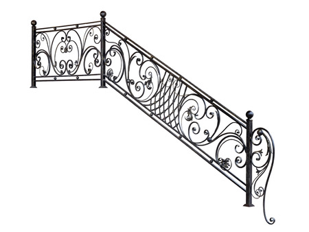 Modern metal railing staircase steps. Isolated over white background. Foto de archivo