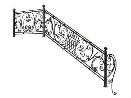 Moderne Treppenstufen aus Metallgeländer. Isoliert über weißem Hintergrund.