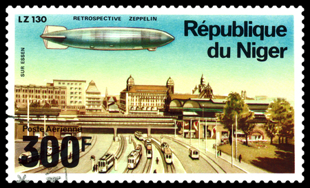 STAVROPOL, RUSSIA - August 12, 2018: a stamp printed by Niger shows Airship  on Essen , series, cirka 1976