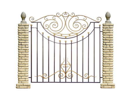 Wrought fence with pillar in old stiletto. Isolated over white background. Stock Photo