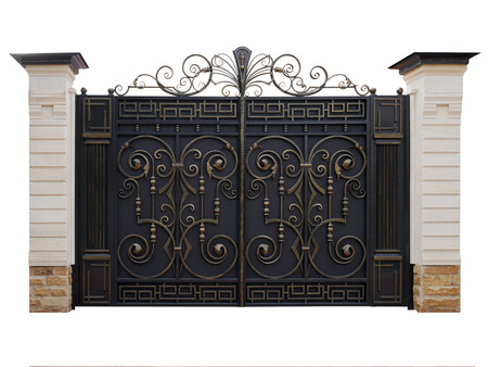Automatic iron gate with wrought-iron decor in the old style. Isolated on white background.