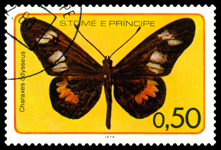 STAVROPOL, RUSSIA - NOVEMBER 04. 2018: A stamp printed in Sao Tome and Principe shows a butterfly Haraks European, Charaxes adysseus, circa 1979.