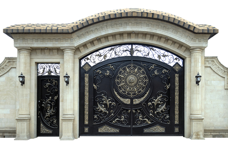 Large wrought iron gates and doors.  Isolated over white background. Foto de archivo