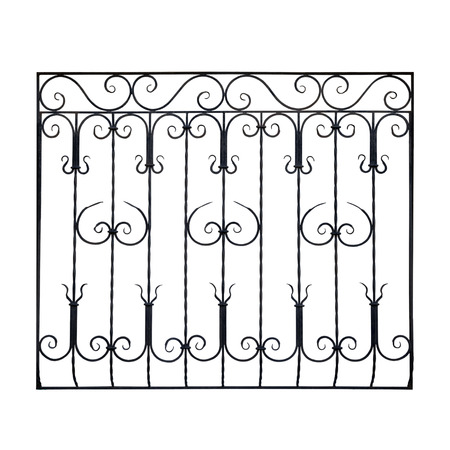 Old wrought-iron dekorative grid. Isolated over white background.