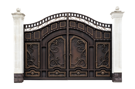 Modern wrought iron gates in the old style. Isolated over white background.