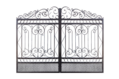 Forged elegance openwork fence. Isolated over white background. Banco de Imagens