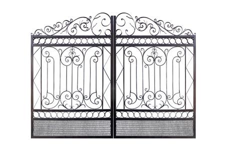 Geschmiedete Eleganz durchbrochener Zaun. Getrennt über weißem Hintergrund. Standard-Bild