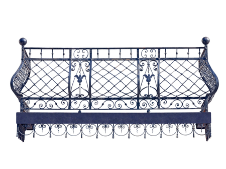 Old wrought balcony. Isolated over white background.