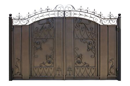Forged modern gates. Isolated over white background.