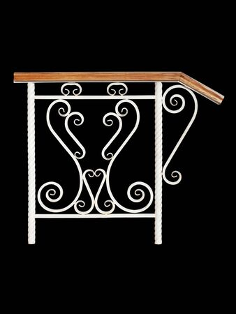 Modern wooden railing. Isolated over  black  background. Standard-Bild
