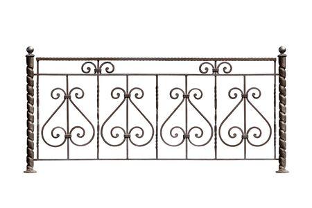 Decorative  lattice  iron fencing isolated over white Stock Photo