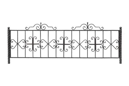 Decorative low forged fence.  Isolated over white background.